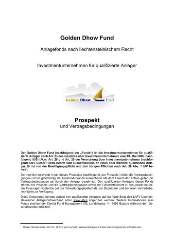 Golden Dhow Fund Prospekt