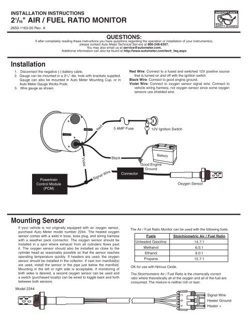auto meter wiring diagram 21 16  air fuel ratio monitor installation auto meter autometer amp gauge wiring diagram air fuel ratio monitor installation
