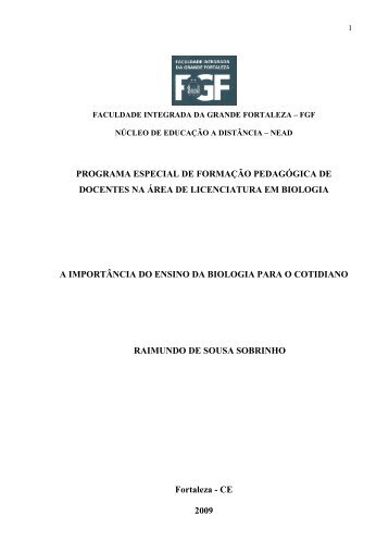Sousa Mono - a importância do ensino da biologia para o co… - FGF