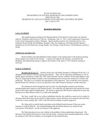 Minutes - Montana Board of Oil and Gas