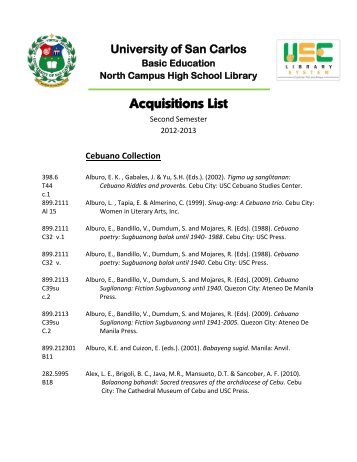 Acquisitions List - Library - University of San Carlos