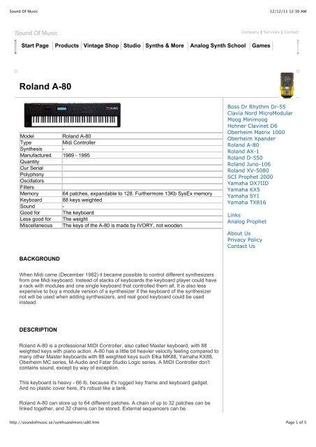 Roland A-80 pdf - Sound Of Music