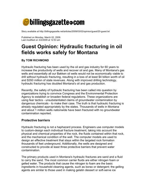 Hydraulic fracturing in oil fields works safely for Montana