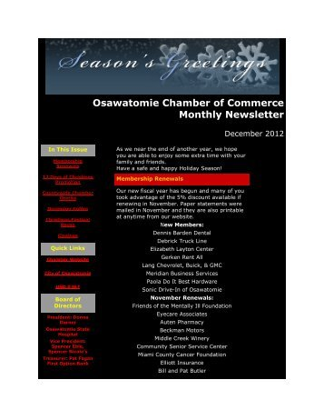 December 2012 - Osawatomie Chamber of Commerce