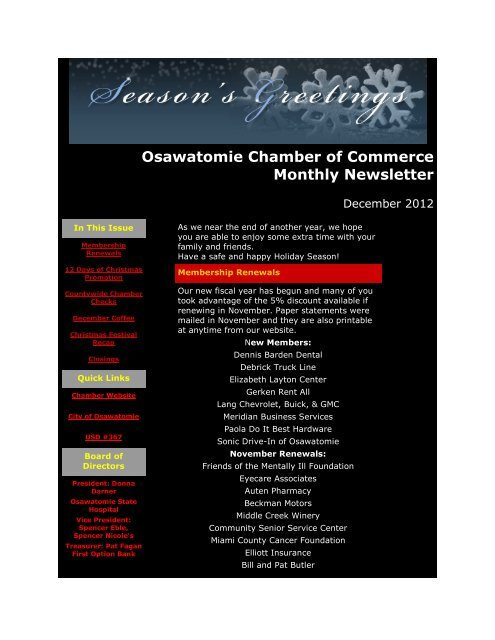 December 2012 - Osawatomie Chamber of Commerce