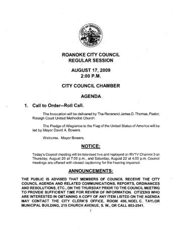 car 08-17-09.pdf - City of Roanoke, Virginia