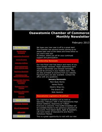 February 2013 - Osawatomie Chamber of Commerce