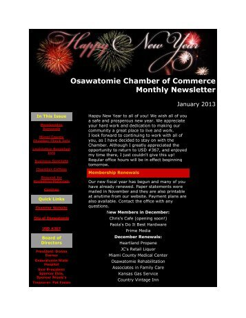 January 2013 - Osawatomie Chamber of Commerce