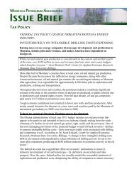 MPA Issue Brief - Tax Policy - Montana Petroleum Association