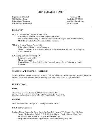 CV - Dr. Erin Elizabeth Smith - Sundress Publications