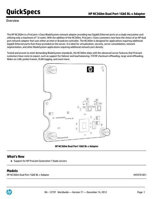 HP NC360m Dual Port 1GbE BL-c Adapter - Compaq - HP