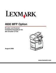Drucker und Scanner Installationshandbuch für den ... - Lexmark