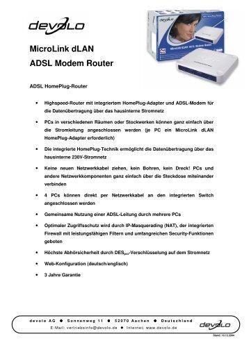 MicroLink dLAN ADSL Modem Router - Devolo