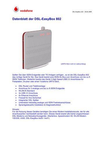 Datenblatt der DSL-EasyBox 802 - Vodafone