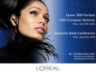 Exane BNP Paribas 12th European Seminar - L'Oréal Finance
