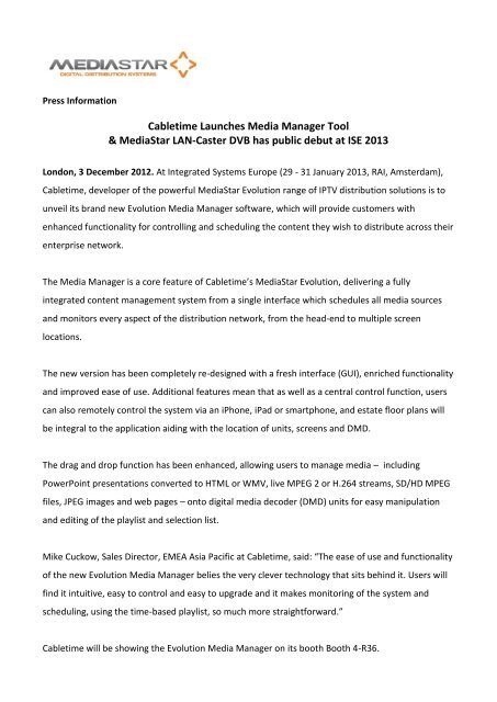 Cabletime Launches Media Manager Tool & MediaStar LAN-Caster