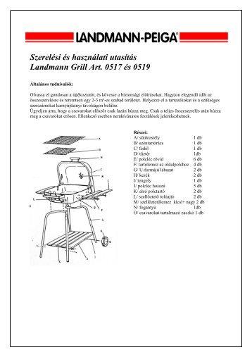 Szerelési és használati utasítás Landmann Grill Art. 0517 és 0519