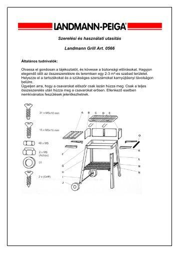 Szerelési és használati utasítás Landmann Grill Art. 0566