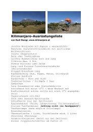 Kilimanjaro-Ausrüstungsliste - Kilimanjaro – mit Rudi Stangl