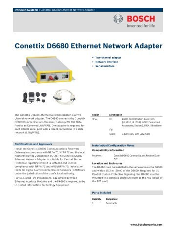 Conettix D6680 Ethernet Network Adapter - Bosch Security Systems