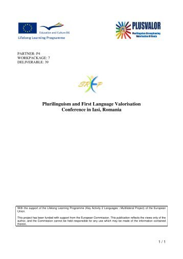 Plurilinguism and First Language Valorisation Conference in Iasi ...