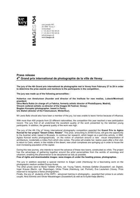 Press release 4th Grand prix international de photographie     - Images