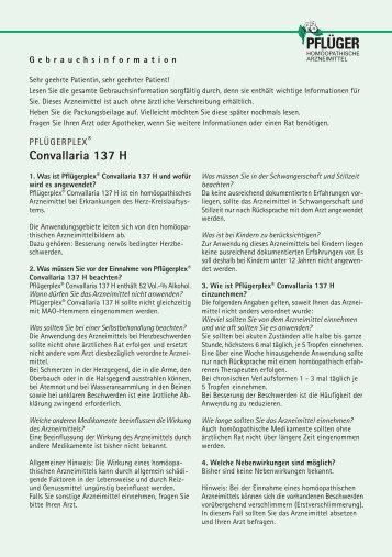 Convallaria 137 H - Homöopathisches Laboratorium A. Pflüger