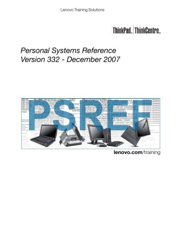 Personal Systems Reference Version 332 - Lenovo Service and ...