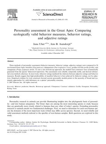 Personality assessment in the Great Apes: Comparing ecologically ...
