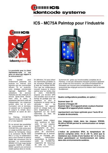 ICS - MC75A Palmtop pour l'industrie - ICS Identcode Systeme AG