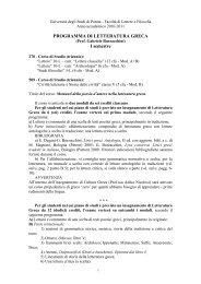 Programma a.a. 2010-2011 - Università degli studi di Parma