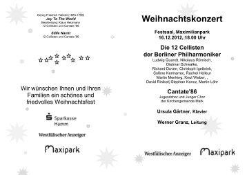 Weihnachtskonzert - Maximilianpark