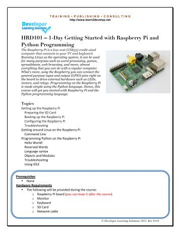 HRD101 – 1-Day Getting Started with Raspberry Pi and Python Programming