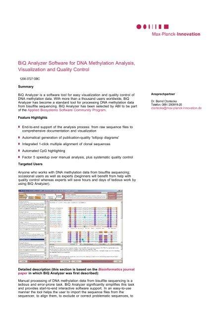 BiQ Analyzer Software for DNA Methylation Analysis