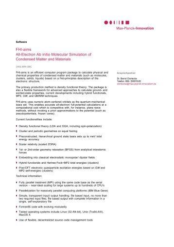 FHI-aims - All-Electron Ab initio Molecular Simulation - Max-Planck ...