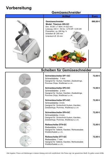 Vorbereitung Gemüseschneider - Gastro Concept Lübeck