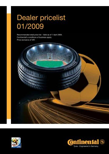 Dealer pricelist 01/2009 - Continental Tyres SA