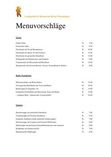 Menuvorschläge - Landgasthof & Restaurant Bären Würenlingen