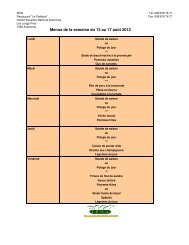 Menus de la semaine du 13 au 17 août 2012 - Iena