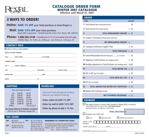 CATALOGUE ORDER FORM 3 WAYS TO ORDER! - Regal Gifts