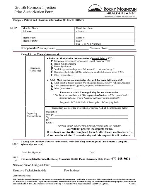 Growth Hormone Injection Prior Authorization Form - Rocky