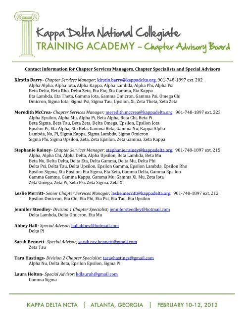 ba71fefe38 Contact Information for Chapter Services Managers ... - Kappa Delta