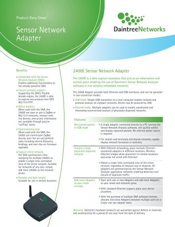 Download Sensor Network Adapter datasheet - Daintree Networks