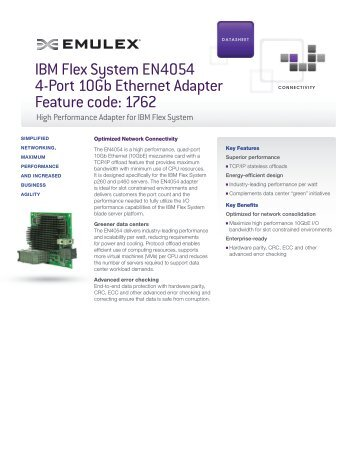 IBM Flex System EN4054 4-Port 10Gb Ethernet Adapter ... - Emulex