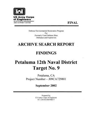 Petaluma Bombing Target Archive Search Report ... - Corpsfuds.org