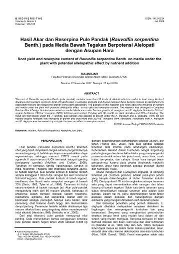 Hasil Akar dan Reserpina Pule Pandak - Biodiversitas - Universitas ...