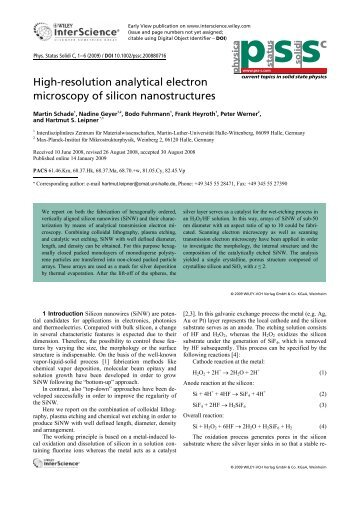 High-resolution analytical electron microscopy of silicon ...