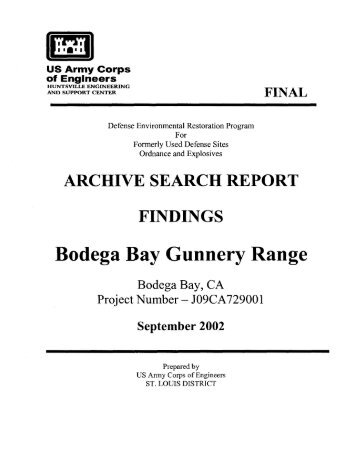 Bodega Head Range Archives Search Report Findings
