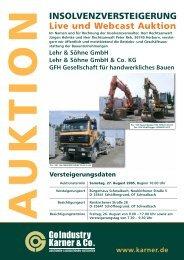 INSOLVENZVERSTEIGERUNG Live und Webcast Auktion