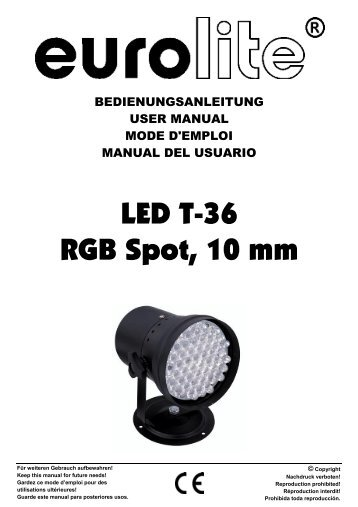 EUROLITE LED PAR-64 RGB Spot short User Manual - Ljudia